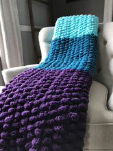 Load image into Gallery viewer, Chunky Knit Throw Blanket | Purple Teal and Aqua Color Block Throw - Hands On For Homemade