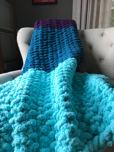 Chunky Knit Throw Blanket | Purple Teal and Aqua Color Block Throw - Hands On For Homemade