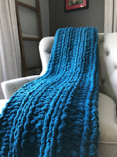 Load image into Gallery viewer, Chunky Knit Throw | Teal Blue Knit Blanket - Hands On For Homemade