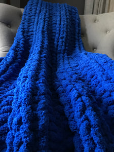 Chunky Knit Blanket | Royal Blue Hand-Knit Throw - Hands On For Homemade