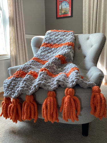 Chunky Knit Tassel Blanket | Gray and Orange Striped Tassel Blanket - Hands On For Homemade