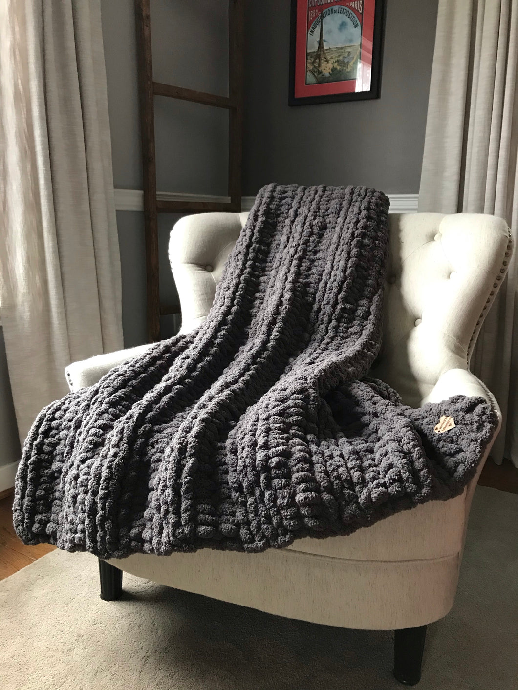 Soft Chunky Knit Charcoal Blanket - Hands On For Homemade