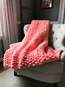 Soft Chunky Knit Coral Blanket - Hands On For Homemade
