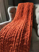 Load image into Gallery viewer, Orange Chunky Knit Blanket - Hands On For Homemade