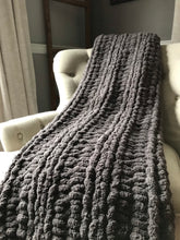Load image into Gallery viewer, Soft Chunky Knit Charcoal Blanket - Hands On For Homemade
