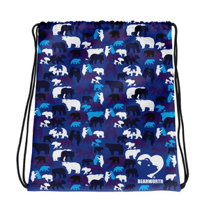Blue Camo Bears Drawstring Bag