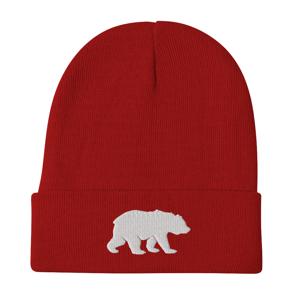 Big Bear (White) Embroidered Beanie