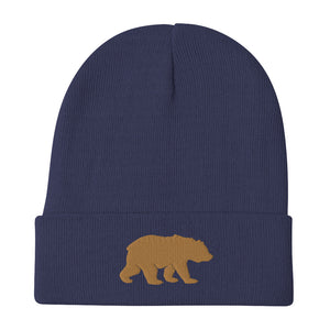 Big Bear (Gold) Embroidered Beanie