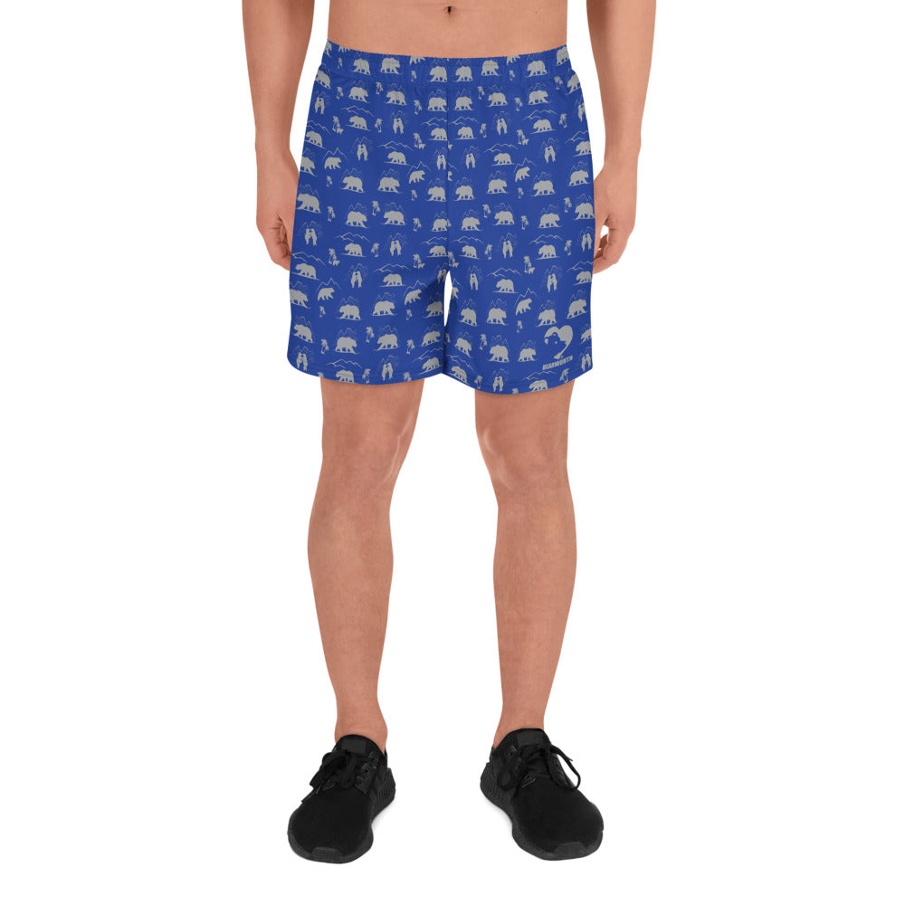 Men's Athletic Mountain Bear Shorts (Navy/Gray)