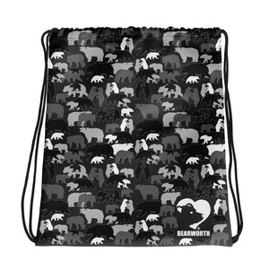 Gray Camo Bears Drawstring Bag