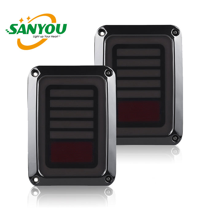 SANYOU LED JEEP Red Tail light Rear Reverse Turn Lamps for  07-17 Jeep Wrangler JK