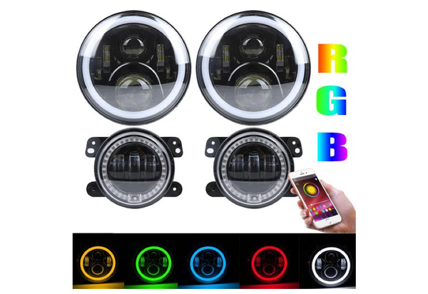 SANYOU RGB 7 inch led headlight with Halo Ring and RGB 4inch Fog Light for Jeep