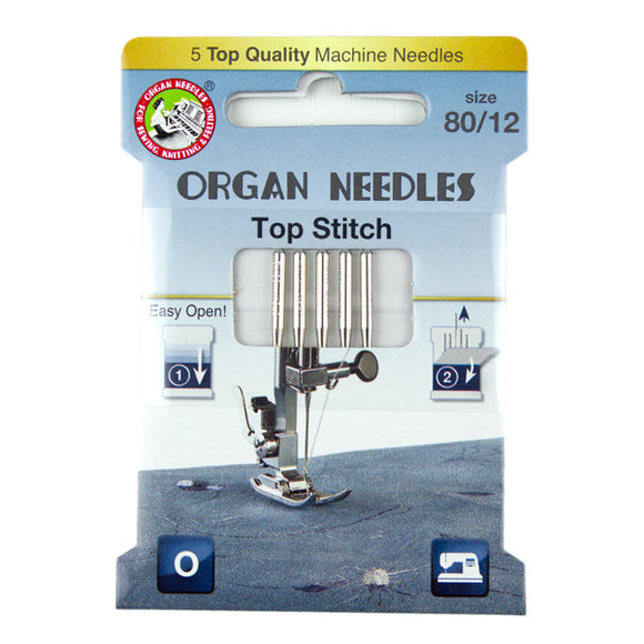Organ® Needles Top Stitch Size 80/12 - 5 Needles Per Pack