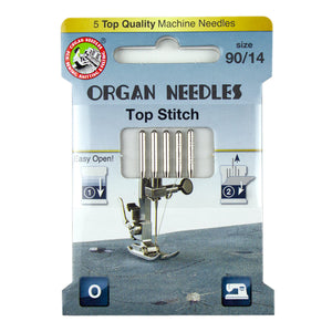 Organ® Needles Top Stitch Size 90/12 - 5 Needles Per Pack