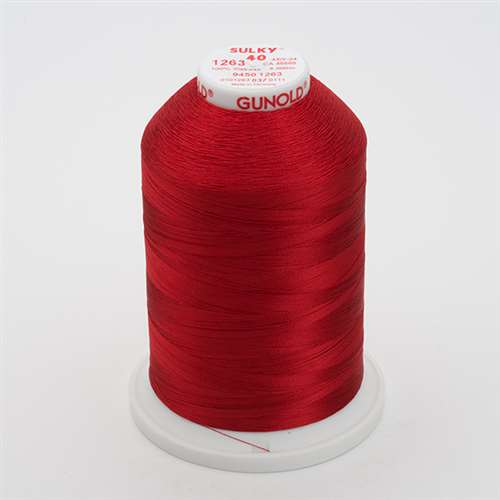 Sulky 40 wt 5500 Yard Rayon Thread - 940-1263 - 40wt Red Jubilee