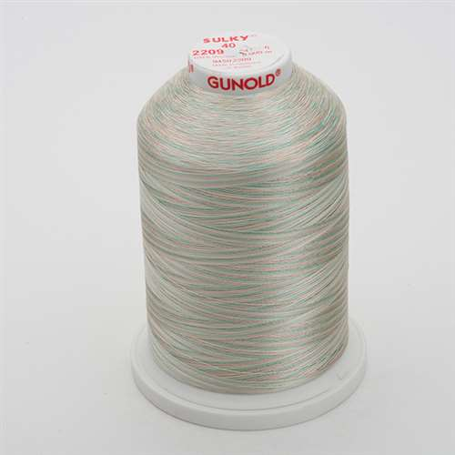 Sulky 40 wt 5500 Yard Rayon Thread - 940-2209 - Sea Foam/Coral/Ecru