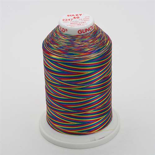 Sulky 40 wt 5500 Yard Rayon Thread - 940-2247 - Blue/Lav/Red/Yel/Grn