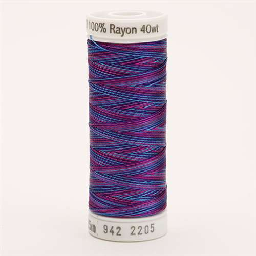 Sulky 40 wt 250 Yard Rayon Thread - 942-2205 - Blue/Fuchsia/Purple