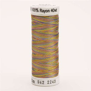 Sulky 40 wt 250 Yard Rayon Thread - 942-2243 - Med Gr/Purple/Gold