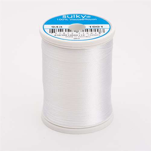 Sulky 40 wt 850 Yard Rayon Thread - 943-1001 - Bright White