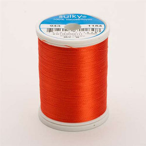 Sulky 40 wt 850 Yard Rayon Thread - 943-1184 - Orange Red