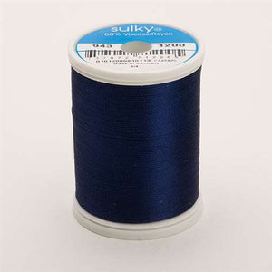 Sulky 40 wt 850 Yard Rayon Thread - 943-1200 - Med Dark Navy