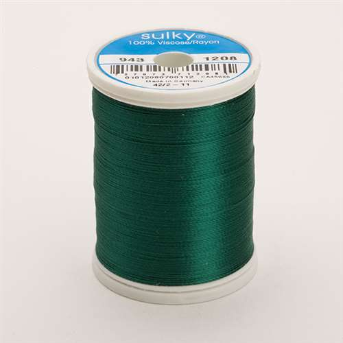 Sulky 40 wt 850 Yard Rayon Thread - 943-1208 - Mallard Green