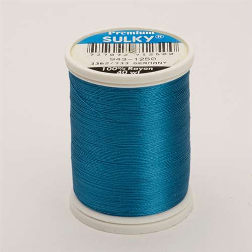 Sulky 40 wt 850 Yard Rayon Thread - 943-1250 - Duck Wing Blue