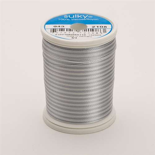 Sulky 40 wt 850 Yard Rayon Thread - 943-2108 - Silv/Gray Var