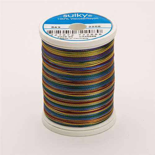 Sulky 40 wt 850 Yard Rayon Thread - 943-2208 - Burg/Green/Blue/Tan