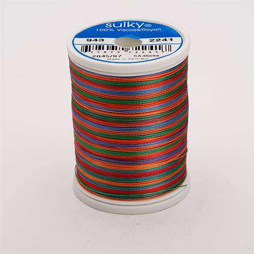 Sulky 40 wt 850 Yard Rayon Thread - 943-2241 - Peach/Blue/Rust/Grn
