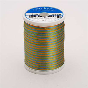 Sulky 40 wt 850 Yard Rayon Thread - 943-2246 - Med Blue/Grn/Tan