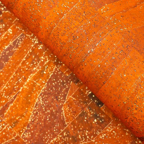 Orange Textile with Golden Streaks Cork Fabric