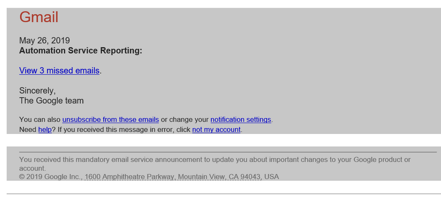 Here we go again With First Warning ! Gmail You have 3 missed emails