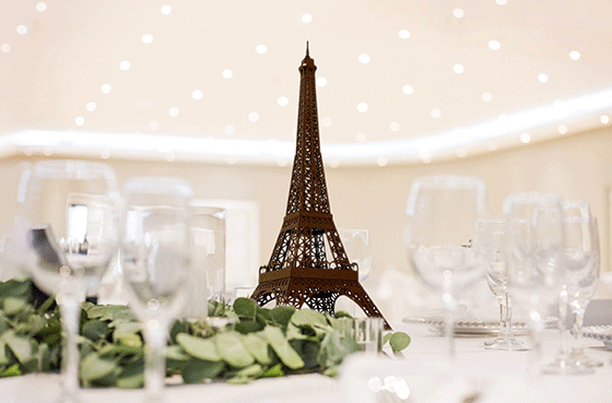 Eiffel tower centrepiece as table decor at the wedding party