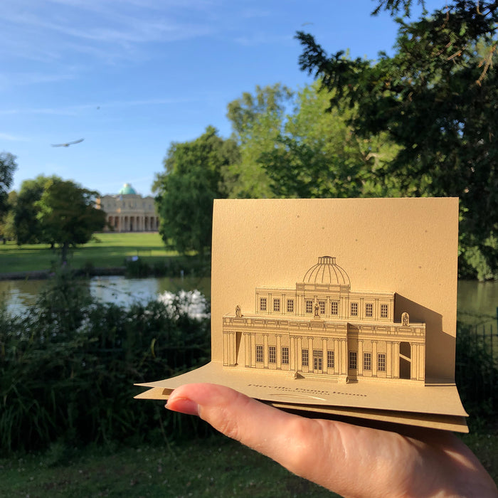 Pittville Pump Room pop-up card with Happy First Anniversary message for paper wedding celebrations in Cheltenham