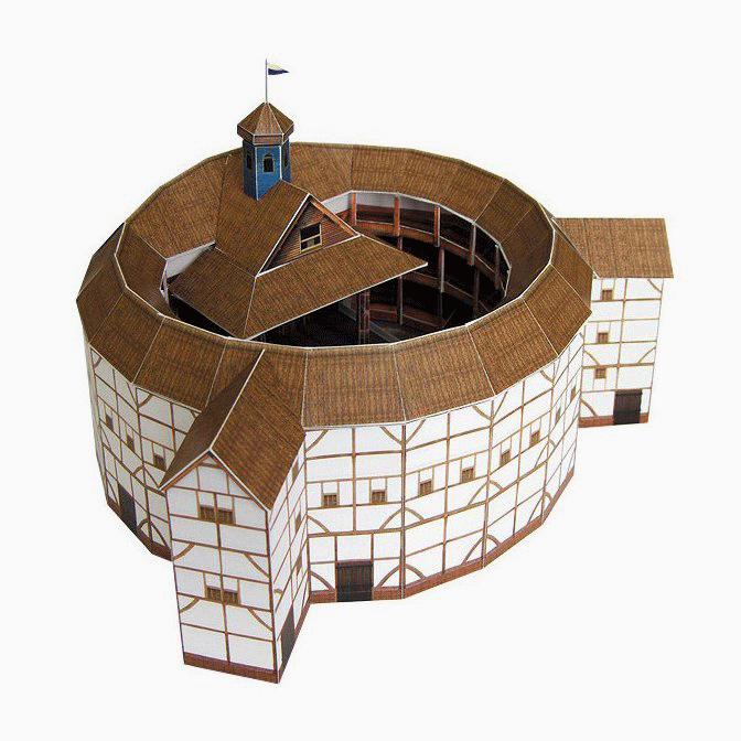 Globe Theatre Paper Model by PaperLandmarks Angled View
