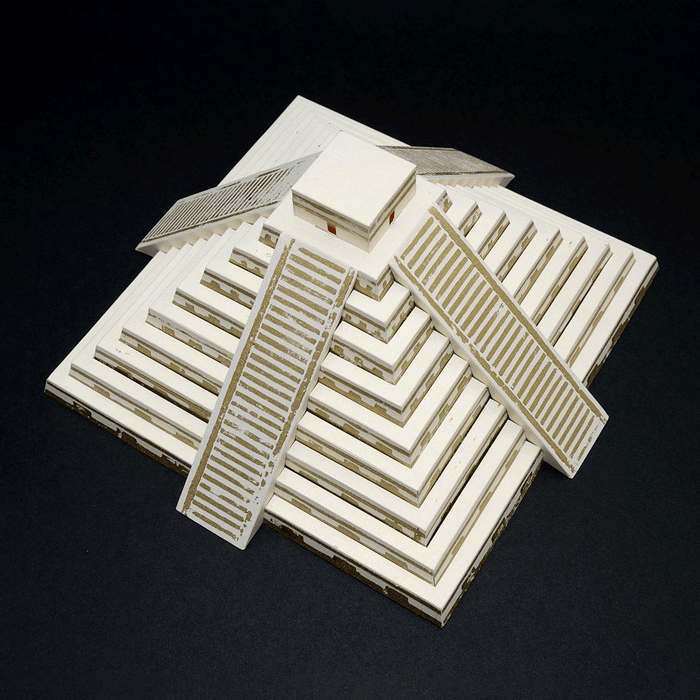 Mayan Pyramid Assembled Paper Model by PaperLandmarks on Black Background