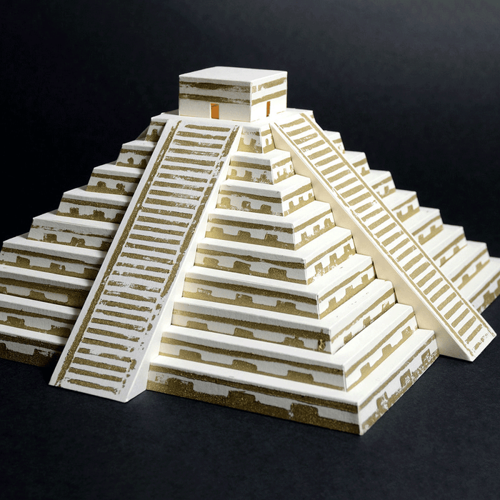 Mayan Pyramid Paper Model by PaperLandmarks on Black Background