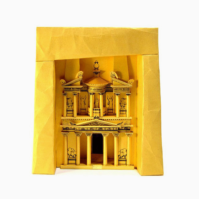 Petra Treasury Paper Model by PaperLandmarks Assembled