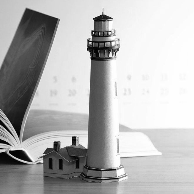Pigeon Point Lighthouse Paper Model by PaperLandmarks Lifestyle in Black and White