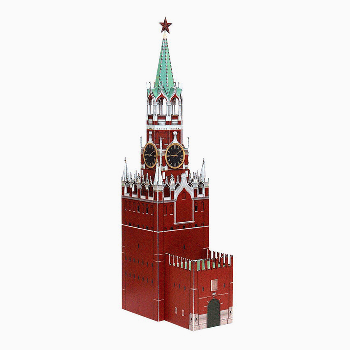 Spasskaya Tower Paper Model by PaperLandmarks Assembled Miniature