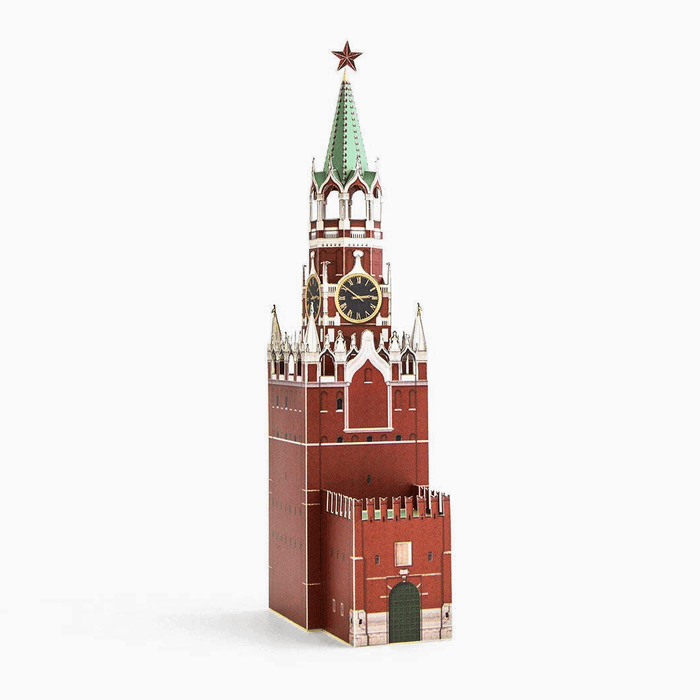 Spasskaya Tower Paper Model by PaperLandmarks Assembled