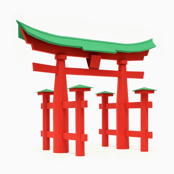 Torii Gate Paper Model by PaperLandmarks Red Green Assembled