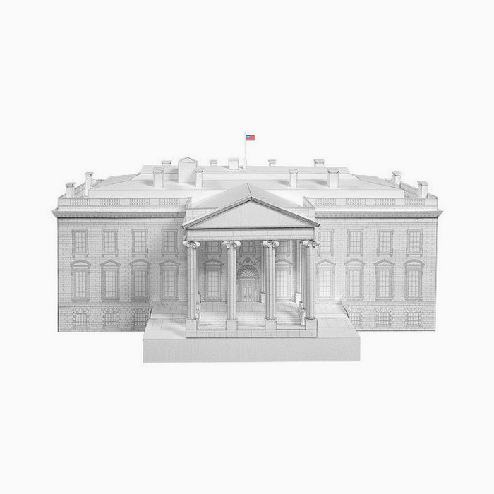White House Paper Model by PaperLandmarks Front View