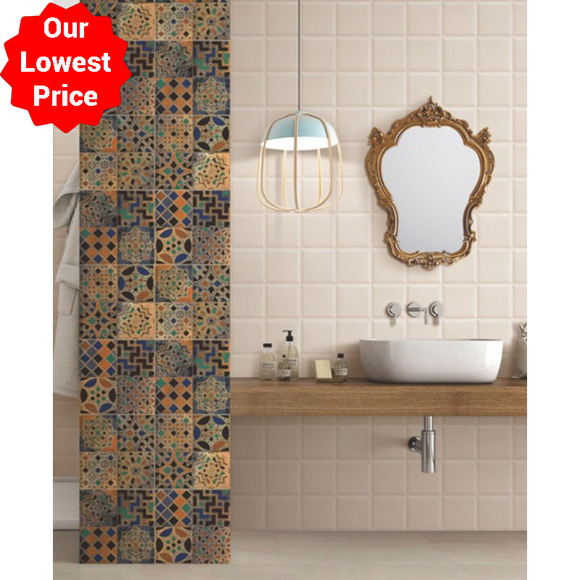 Piazza Bosco Decor 300x300mm Decorative Ceramic Wall Tile Our Lowest SQM Price Ever £9.95 - undergroundflooring.co.uk