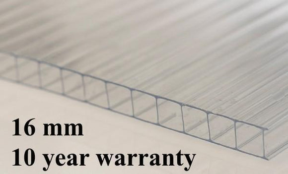 16mm Polycarbonate Roofing Sheet Clear Various Size 10 Year Warranty From £10.44 - undergroundflooring.co.uk