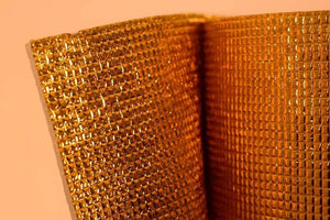 3mm Foil EPE Foam Insulation Underlay Double Side Grid Golden Colour Square Metre Price is £3.50 - undergroundflooring.co.uk