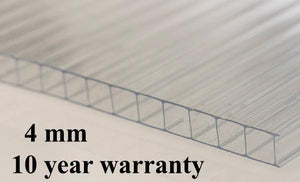 4mm (0,66 x 1,22mm - 2ft x 4ft ) Polycarbonate Roofing Sheet Clear Greenhouse 10 Year Warranty Double Side UV Protection From £4.49 with free delivery - Undergroundflooring.co.uk