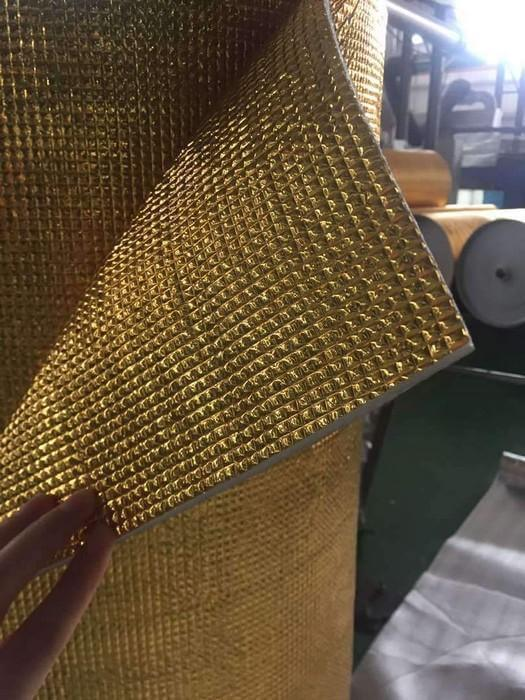 5mm Foil EPE Foam Insulation Underlay Double Side Grid Golden Colour Square Metre Price is £3.75 - undergroundflooring.co.uk